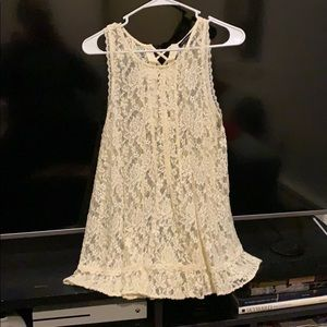 AE white sheer lace tank